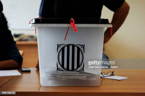 Ballot boxes during the Catalonia independence referendum declared ilegal by the Spanish government on October 1 2017 in Barcelona Spain'n