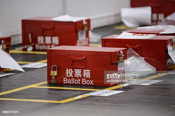 Ballot boxes for the Legislative Council election are seen at the central counting station in Hong Kong early on September 5 2016 / AFP / ANTHONY...