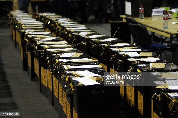 Ballot boxes stand at a count centre in Dublin following ...