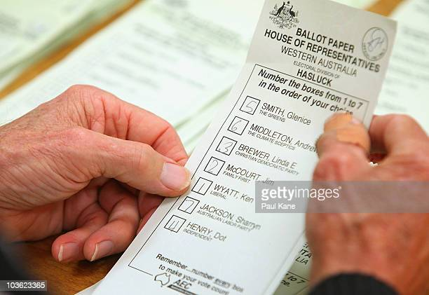 A ballot paper is scrutinised as the counting of absentee and postal votes for the marginal seat of Hasluck in Western Australia begins on August 25...