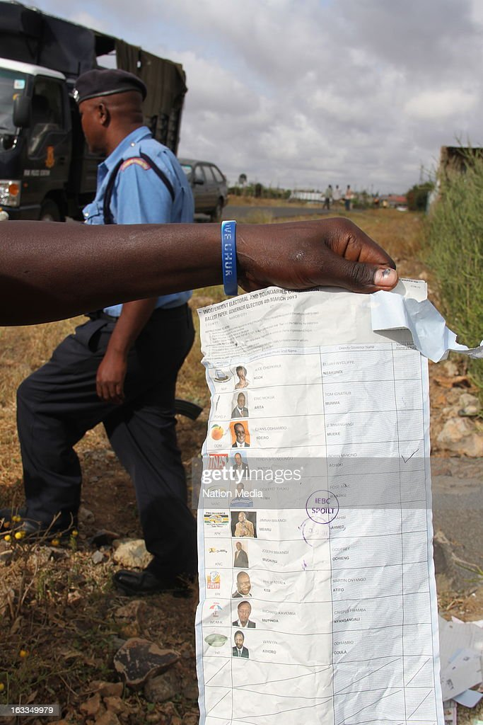 15 Ballot papers and 11 ballot boxes seals were found dumped on March 6, 2013 in Ruai Embakasi along Ruai Kagundo road, Nairobi, Kenya. The ballot papers ranged from Governor, Senate, Women Representative, Member of Parliament and County Representative all with IEBC stamps were found dumped in a IEBC plastic paper bag and appear to be from Westlands Mountain view polling station.