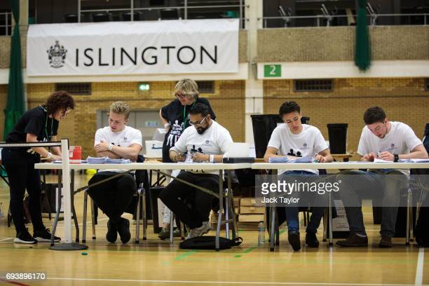 Ballot papers are counted at the Sobell Leisure Centre during the Islington North and the Islington South and Finsbury counts on June 8 2017 in...