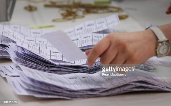 Ballot papers are counted in the constituency of Conservative Party leader David Cameron on May 7 2010 in Witney England After 5 weeks of campaigning...