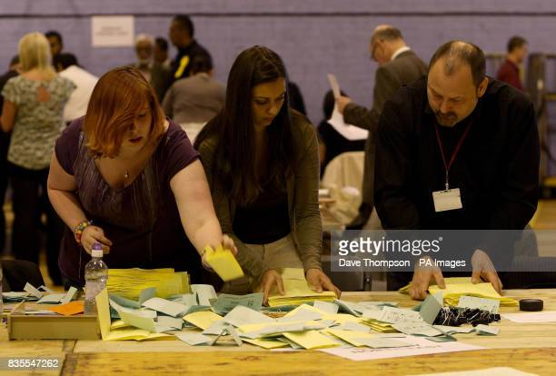 Ballot papers for the European Parliament election are sorted ahead of being counted at Turf Moor Leisure Centre Burnley