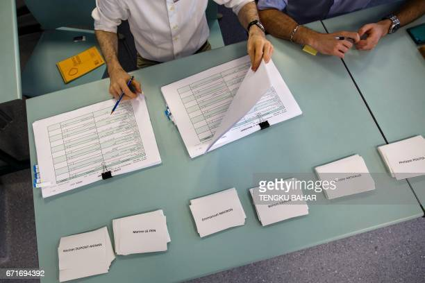 Ballot papers marked with the names of presidential candidates are seen as French nationals residing in Hong Kong vote in the first round of France's...