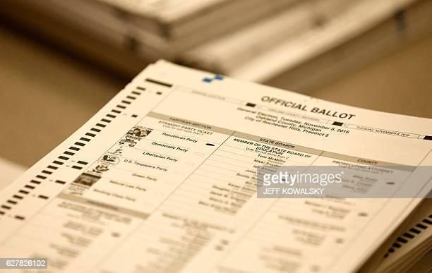 A ballot sheet is viewed for the recount of ballots cast in Oakland County Michigan from the 2016 US presidential race to be recounted at the Oakland...