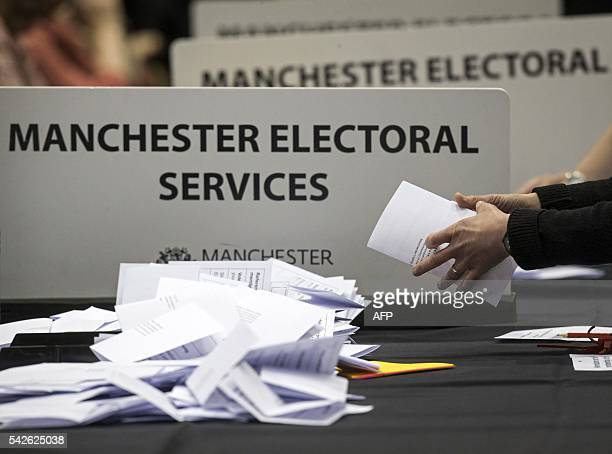 Ballots are counted at the Manchester Central Convention Complex where the EU referendum vote count is taking place in Manchester north west England...