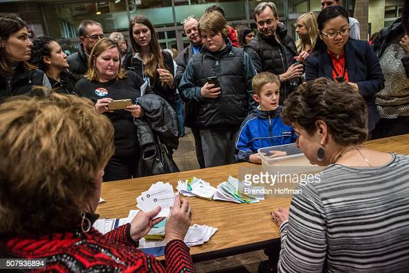 Ballots are counted following the Republican party caucus in precinct 317 at Valley Church on February 1 2016 in West Des Moines Iowa The Democratic...