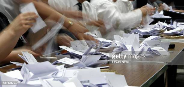 Ballots are counted in the Crewe and Nantwich on May 22 2008 following a byelection called after the death of the sitting Labour member of parliament...
