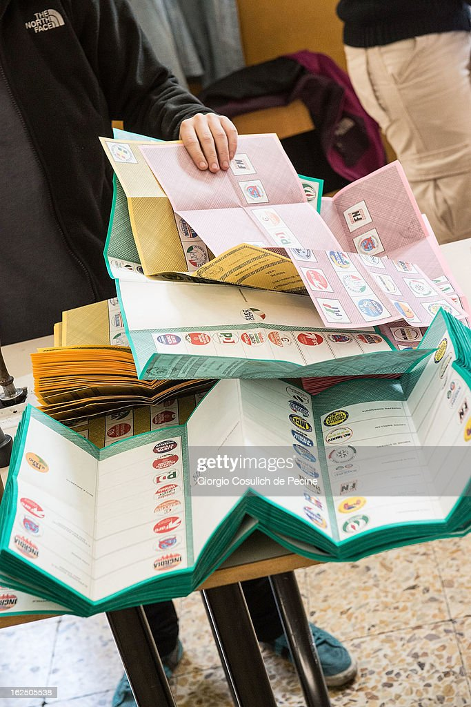 Ballots are displayed in a table at a polling station on February 24, 2013 in Rome, Italy. Italians are heading to the polls today to vote in the elections, as the country remains in the grip of economic problems . Pier Luigi Bersani's centre-left alliance is believed to be a few points ahead of the centre-right bloc led by ex-Prime Minister Silvio Berlusconi.