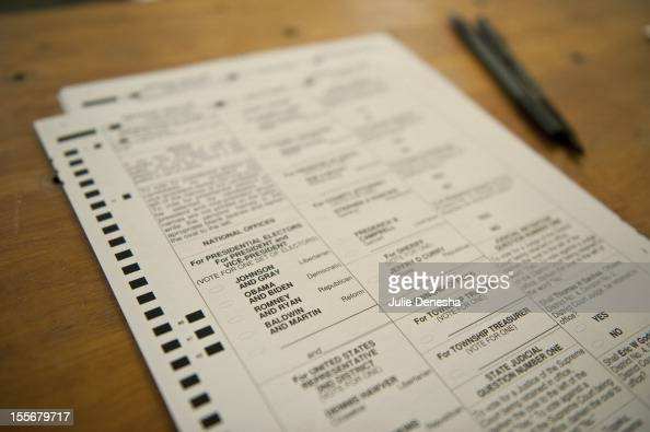 Ballots for the national election lie on a table at Briles Schoolhouse on November 5 2012 in Wellsville Kansas The oneroom school house was built in...
