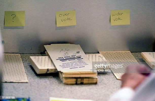 Ballots sit in marked piles in front of counters at the Palm Beach County Emergency Operations Center in West Palm Beach Florida 18 November 2000 The...