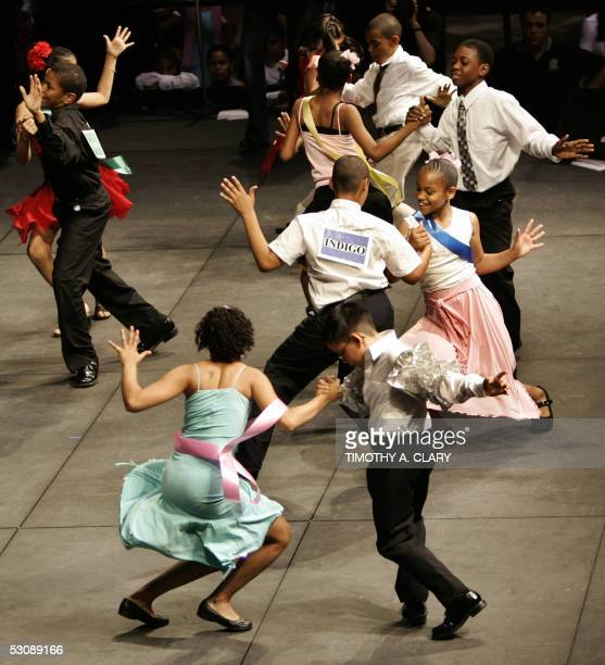 Ballrom dance students perform the Swing in the ballroom dance finals of the Colors of the Rainbow Team Match 2005 at the Winter Garden in New York...