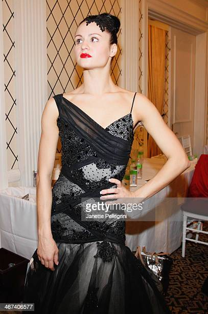 Ballroom Dancer Sasha Perzhu attends the Dore fashion show during MercedesBenz Fashion Week Fall 2014 at Empire Hotel on February 6 2014 in New York...