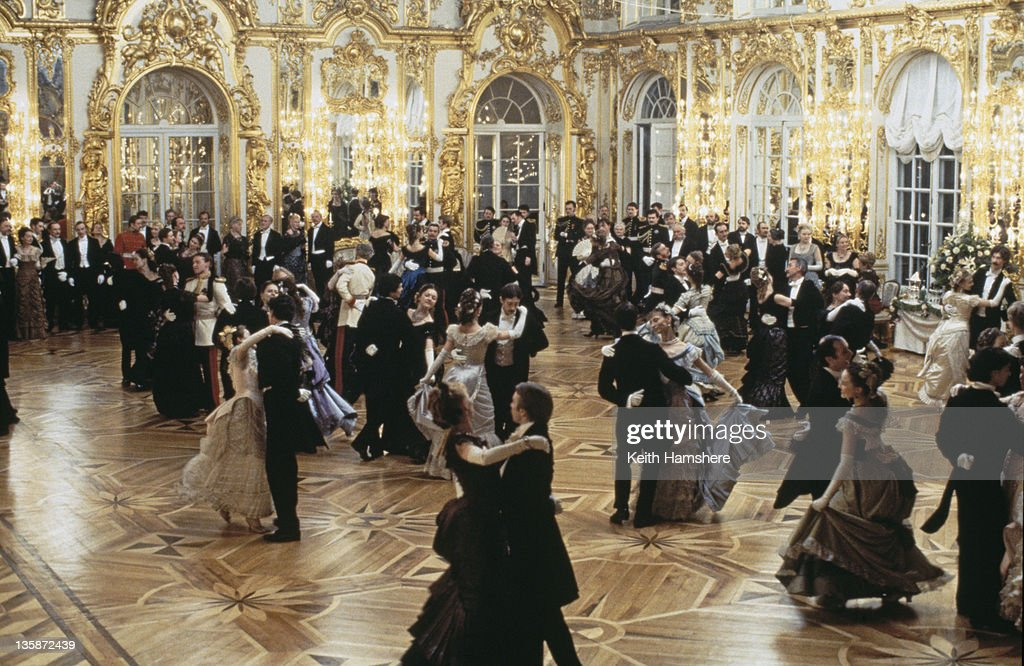 A ballroom scene from the film 'Leo Tolstoy's Anna Karenina', 1997. The movie was filmed on location at the Catherine Palace in St. Petersburg, Russia.