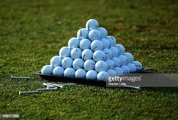 Balls are pictured on the driving range ahead of the first round of the Dubai Festival City Challenge Tour Grand Final at Al Badia Golf Club on...