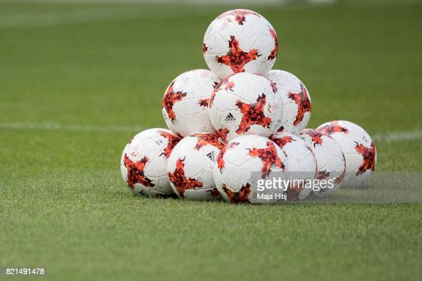 Balls are placed on the pitch prior the UEFA Women's Euro 2017 Group D match between Scotland v Portugal at Sparta Stadion on July 23 2017 in...