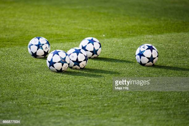 Balls are seen during a training session of AS Monaco prior the UEFA Champions League Quarter Final First Leg match between Borussia Dortmund and AS...