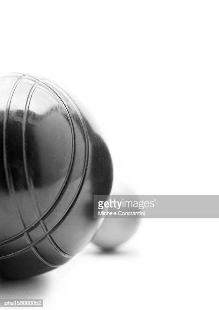 Balls for French boules, b&w.