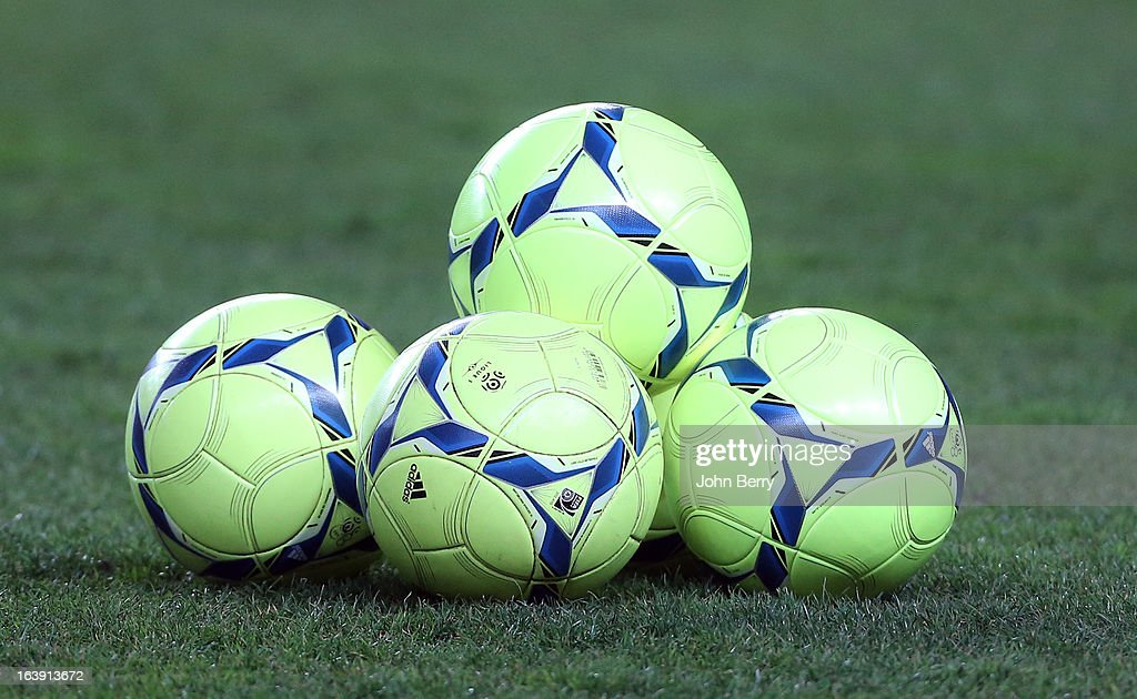 Balls lay on the ground during the Ligue 1 match between AS Saint-Etienne ASSE and Paris Saint-Germain FC at the Stade Geoffroy-Guichard on March 17, 2013 in Saint-Etienne, France.