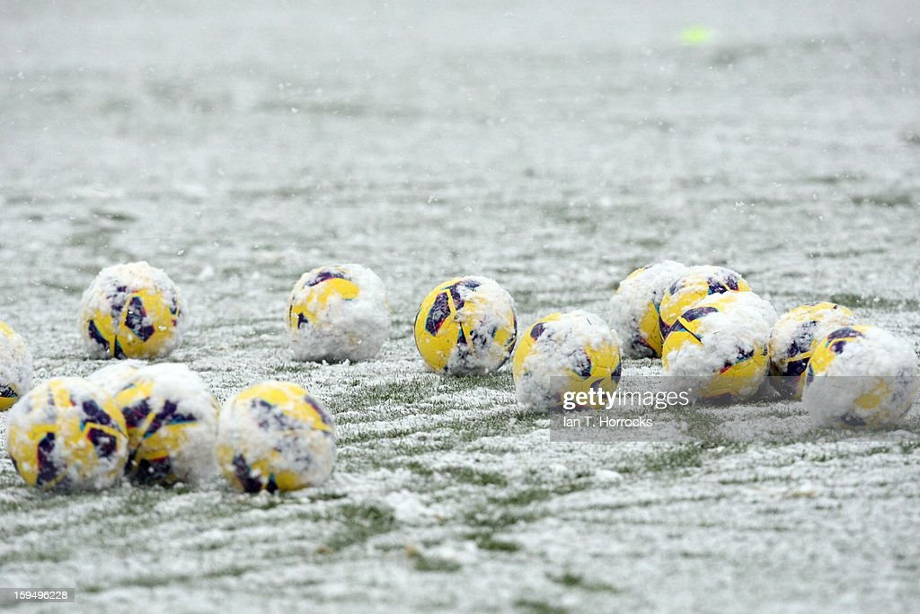 Balls lie in the snow during a Newcastle United training session at the Little Benton Training Ground on January 14, 2013 in Newcastle upon Tyne, England.