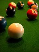 Balls on pool table