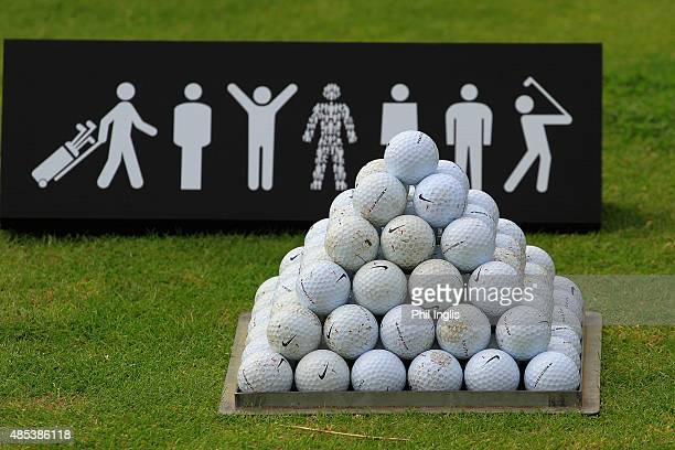 Balls on the practice range during the first round of the Prostate Cancer UK Scottish Senior Open played on the Fidra Course Archerfield Links on...