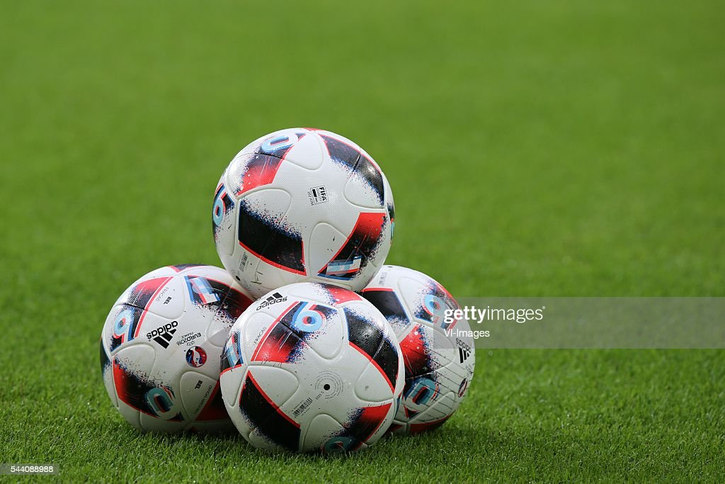 balls, stock, adidas, euro balls, soccer ball during the UEFA EURO 2016 quarter final match between Wales and Belgium on July 2, 2016 at the Stade Pierre Mauroy in Lille, France.
