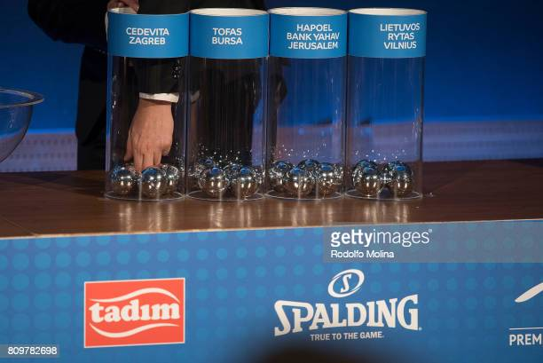 Balls with Teams names are drawn during the 20172018 7Days EuroCup Draw at Imagina Centre Audiovisual on July 6 2017 in Barcelona Spain