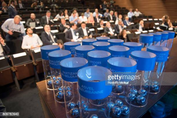 Balls with Teams names waiting for the 20172018 7Days EuroCup Draw at Imagina Centre Audiovisual on July 6 2017 in Barcelona Spain