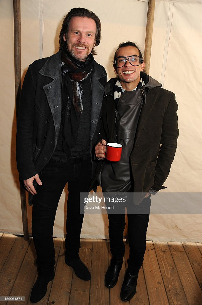 Bally Desinger Michael Herz and Labelux & Bally CEO Reinhard Mieck attend the 'BALLY Celebrates 60 Years of Conquering Everest' at Bedford Square Gardens on January 7, 2013 in London, England.