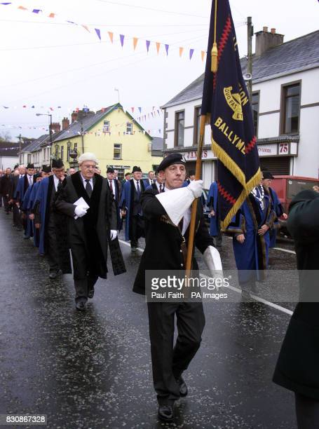 Ballymena Councillors in the parade through the village of Broughshane in Co Antrim Northern Ireland The village is hosting a number of events this...