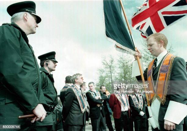 Ballynafeigh Orangemen were prevented from walking down the Nationalist Lower Ormeau Road by a blockade of RUC officers on Ormeau Bridge in Northern...