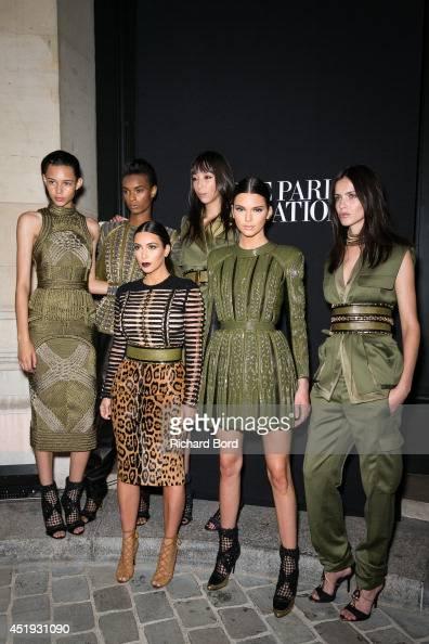 Balmain Army models Binx Walton Ysaunny Brito Issa Lish Amanda Wellsh Kim Kardashian and her sister Kendall Jenner attend the Vogue Foundation Gala...