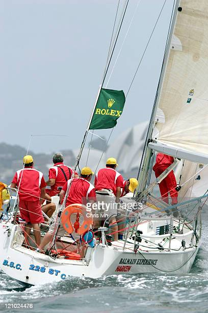 Balmain team gets underway on the Boxing Day start of the 59th Sydney to Hobart yacht race in New South Wales Australia on December 26 2003