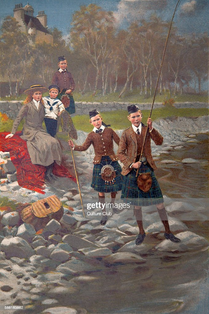 the younger children of the King and Queen' George V and Mary 's children fishing wearing kilts and sailor suit