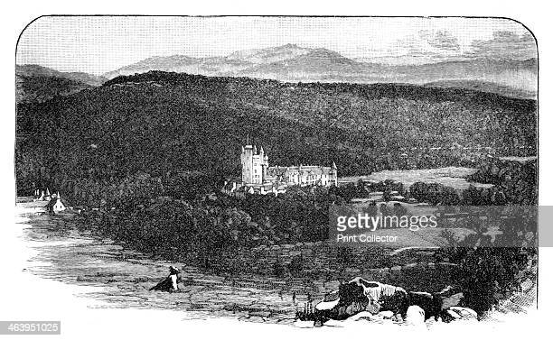 Balmoral Castle Scotland View of the royal residence of Balmoral from the north looking towards Lochnagar Engraving from a photograph Illustration...