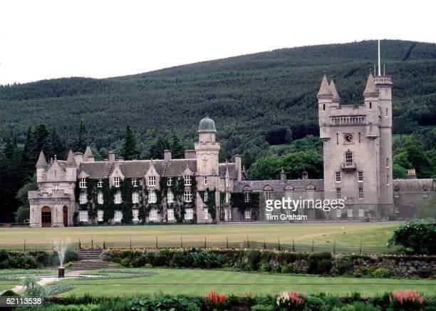 Balmoral Castle The Gardens And Water Fountain Scotland