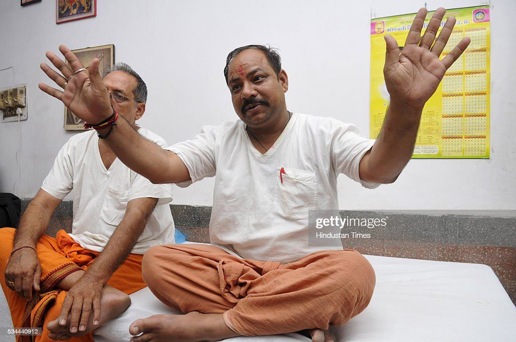 Balraj Dangar, convener of Bajrang Dal Meerut region and organizer of self defense training camp at Saraswati Shishu Mandir, an RSS-run school on May 26, 2016 in Noida, India. Nearly 400 members from 16 districts of Uttar Pradesh have gathered at the Saraswati Shishu Mandir in Noida for the training session. The training module includes martial arts, hurdle jumping, airgun firing, rope climbing and use of swords and sticks during a combat situation. The arms training camp of Hindu Right Wing oraganisation in communally sensitive Ayodhya has triggered furore earlier this week, prompting Police to arrest the camp organizer Mahesh Mishra .