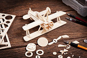 Balsa wood model airplane kits, Hobby and leisure concept