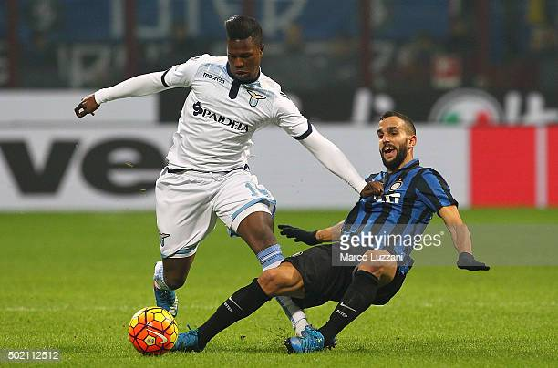Balte Keita of SS Lazio competes for the ball with Martin Montoya of FC Internazionale Milano during the Serie A match between FC Internazionale...