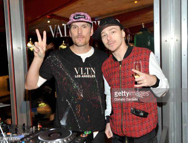 Balthazar Getty and John Tracy attend Valentino VLTN Maxfield pop up store opening at Maxfield on October 26 2017 in Los Angeles California