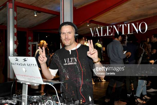 Balthazar Getty spins attends Valentino VLTN Maxfield pop up store opening at Maxfield on October 26 2017 in Los Angeles California