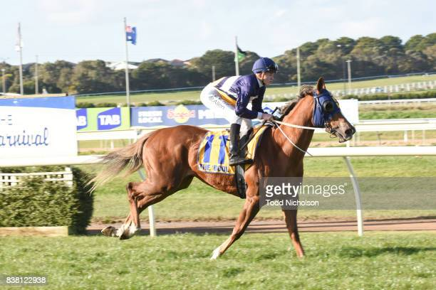 Baltic Amber ridden by Ben Allen goes out for the Grahams Cleaning Services BM64 Handicap at Warrnambool Racecourse on August 24 2017 in Warrnambool...