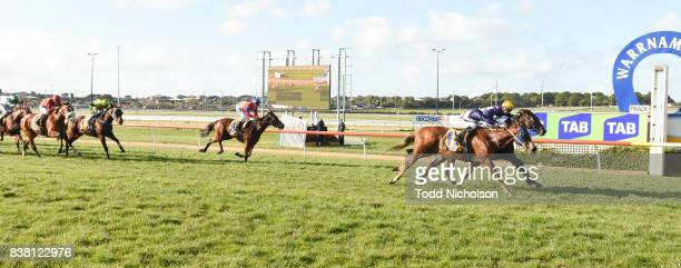 Baltic Amber ridden by Ben Allen wins the Grahams Cleaning Services BM64 Handicap at Warrnambool Racecourse on August 24 2017 in Warrnambool Australia