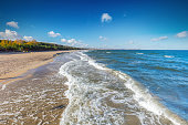 Baltic sea and the Gulf of Danzig coast in Poland. Blue sunny sky.