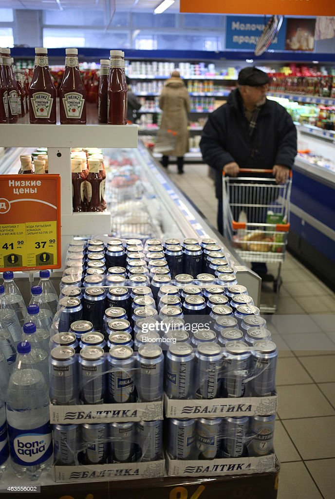 Baltika beer sits for sale inside a supermarket operated by OAO Dixy Group in Moscow, Russia, on Friday, Feb. 22, 2013. Russia's largest retailer by market value, OAO Magnit, is spending as much as $1.8 billion this year to compete against X5 Retail Group NV and OAO Dixy Group. Photographer: Andrey Rudakov/Bloomberg via Getty Images