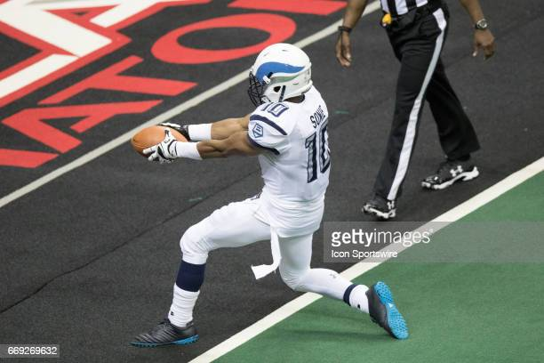 Baltimore Brigade DB Varmah Sonie crosses the goal line with a 50 yard kickoff return for a touchdown during the fourth quarter of the Arena League...