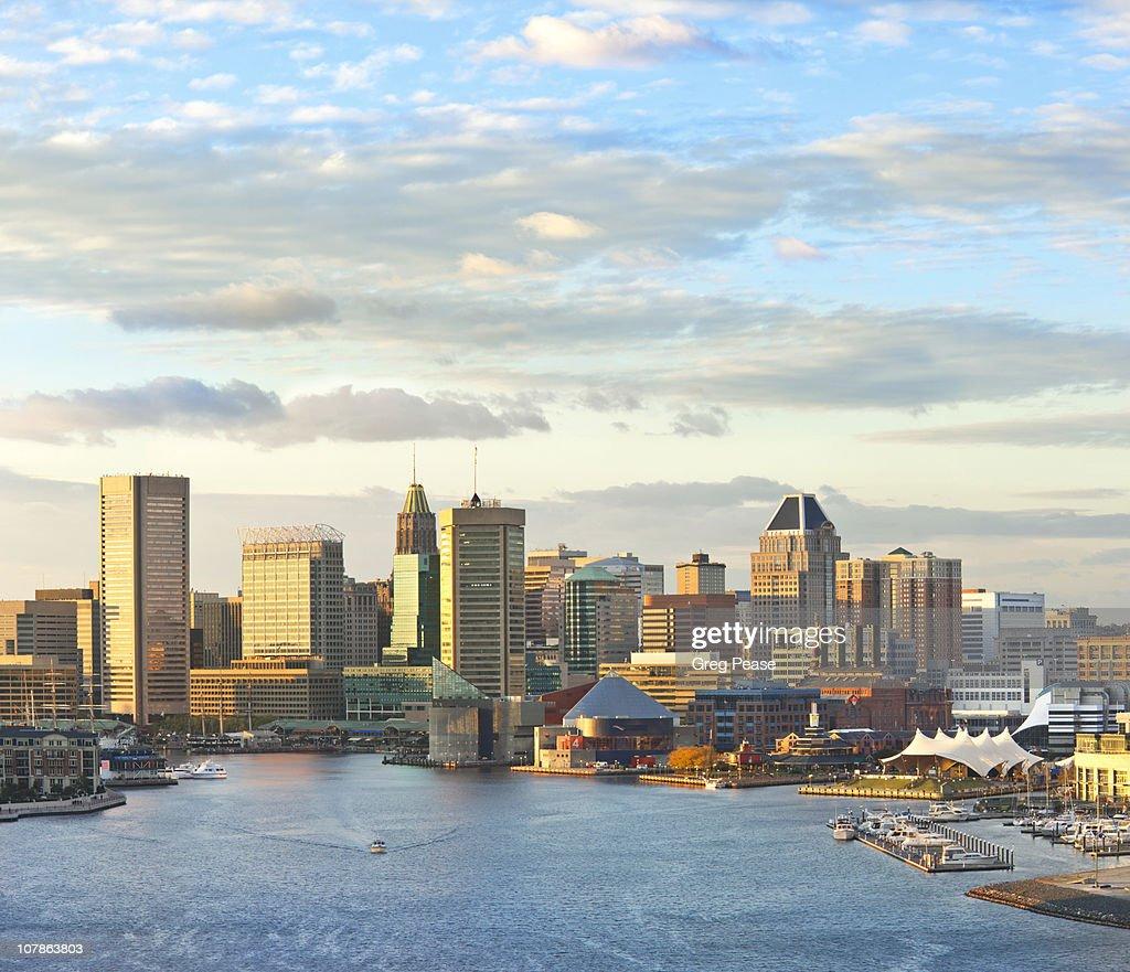 Baltimore City Skyline and Inner Harbor : Stock Photo