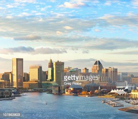 Baltimore City Skyline and Inner Harbor : Foto de stock